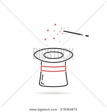 thin line inverted magic hat icon on white. abstract idea of creative representation on birthday party for little kids or fun celebration with magical performance and stunt with delusion