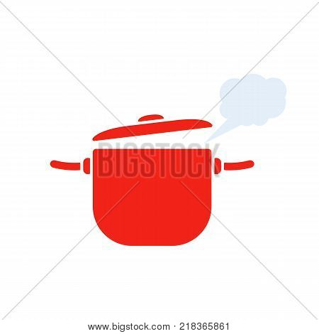 red pan with steam icon. cartoon image of the process of culinary, boiling water. concept of  healthy and yummy cookery for food shop and cafe. flat style logo trend graphic design on white background