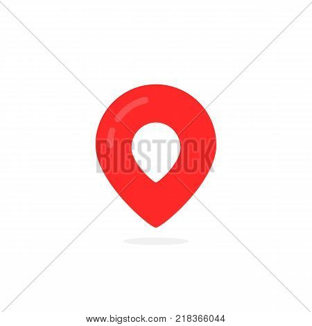 abstract geotag logo and red map pin icon. concept of of finding the right place and finder sign for tourism. flat style trend modern logotype graphic brand design isolated on white with shadow