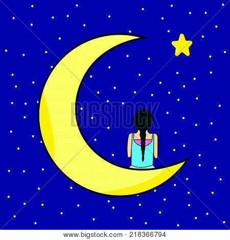 Lonely Braid Lady Sitting on Crescent Moon Looking Star in Wide Sky, Illustration
