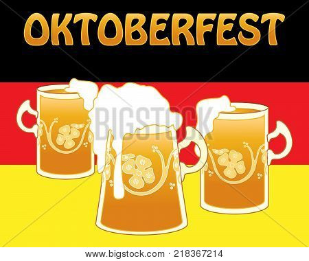 an illustration of an advert for oktoberfest festival with golden beer in fancy tankards on a german flag background