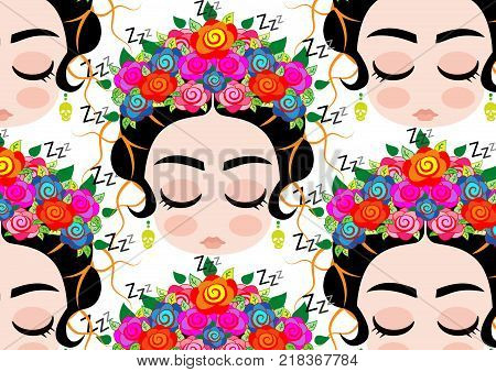 Emoji baby Mexican woman with crown of colorful flowers, typical Mexican hairstyle, little girl who snores, Background cartoon vector portrait