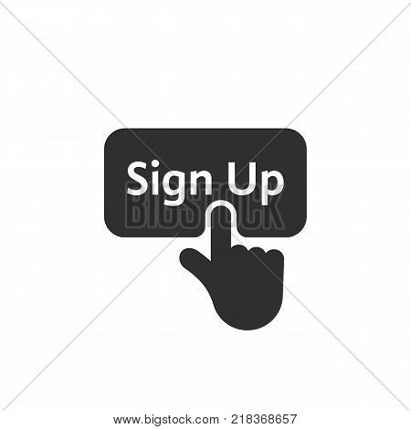 black simple finger presses on sign up button. concept of click here like abstract ui symbol and new registration on web site. flat style trend modern logotype graphic design on white background