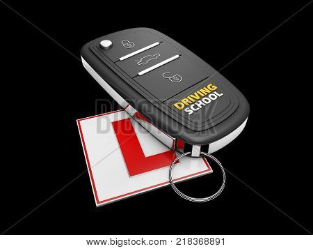 Car key on the white learner driver sign, isolated black, 3d Illustration.