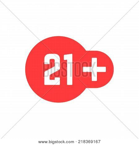 simple 21 plus red icon isolated on white background. concept of age warning info button for online website ui and twenty one years restriction for illegal content or product sign