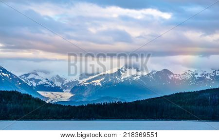Alaska Nature And Mountain In June At Sunset