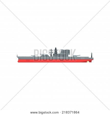 Colored icon of large military tanker. Ship with naval artillery. Combat boat in flat style. Cartoon vector illustration isolated on white background. Side view. Graphic design element for mobile game