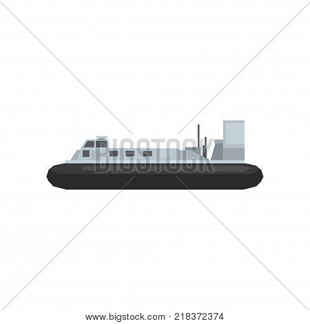 Cartoon illustration of naval combat ship. Nautical marine boat icon. Large water transport. Graphic design element for website, mobile game or infographic. Flat vector isolated on white background.