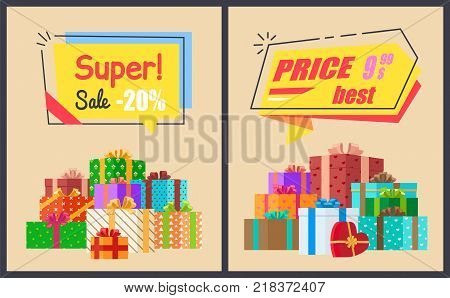 Super sale best price posters with price clearance and decorative gift boxes in colorful paper. Vector illustration with exclusive proposition