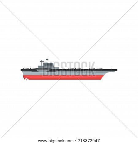 Icon of aircraft carrier with airplanes. Waterborne military vessels. Naval aviation. Colored vector illustration isolated on white. Flat graphic element for website, mobile game or infographic.