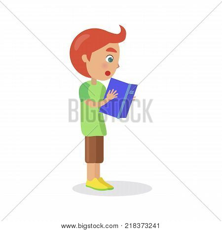 Profile of redhead boy with textbook reading interesting enciclopedia, vector illustration dedicated to International World Book and Copyright Day