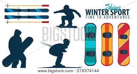 Winter Sport. Ski And Snowboard. Mountain Landscape. Sportsman Ski Slope Down. Vector Illustration.