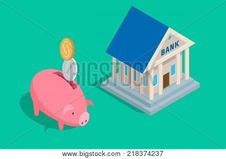 Capital accumulation concept with coins falling in piggybank and bank building with columns isometric projection vectors. Savings and wealth protection conceptual illustration for business icons