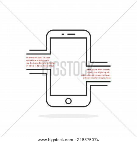 thin line mobile phone like text messaging. concept of internet chatting via digital gadget or new message inbox. stroke style trend modern logotype graphic art design isolated on white background