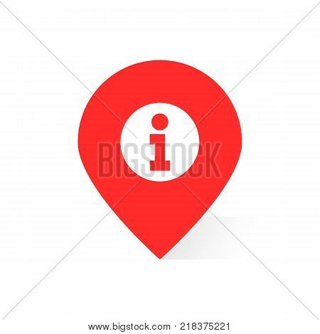 red information logo like map pin or geotag. concept of finding the right place on planet or info message. flat trend modern tourism logotype or arrow graphic design isolated on white background