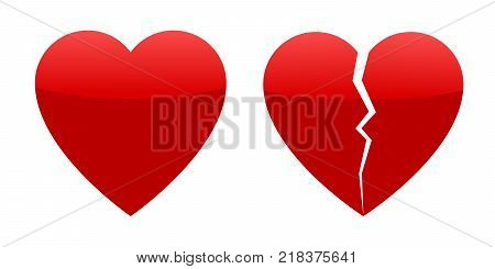Two red hearts, whole and broken. Vector illustration