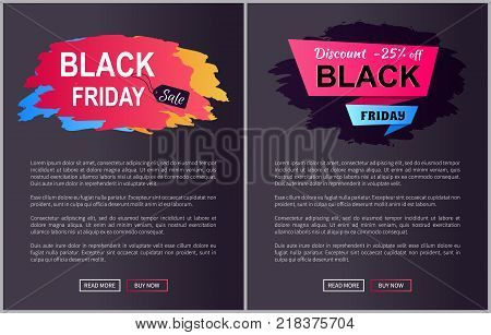 Black Friday sale, discount -25 off, websites collection with images and text, buttons that say read more and buy now vector illustration