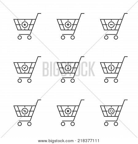simple set of thin line black shopping cart. linear style trend logotype graphic art design isolated on white background. concept of simple contour pictogram for online ecommerce or eshopping