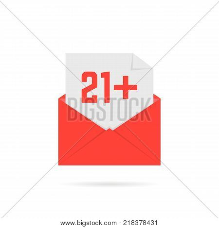 21 plus icon in open letter isolated on white. flat style trend modern logo template or graphic simple symbol design