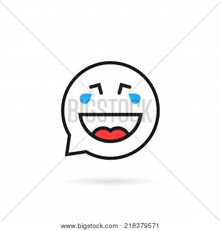 thin line cry and laugh emoji speech bubble logo. concept of toothless baby sign like tears of happiness. stroke flat style trend logotype or simple graphic art design isolated on white background