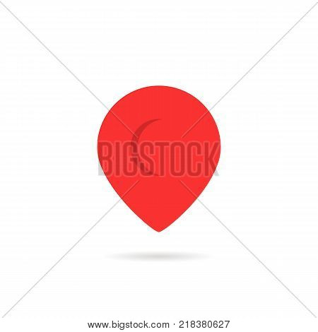 red abstract geotag or map pin icon. flat geolocation indicator logotype or simple graphic brand design isolated on white background. geolocator sign for gps navigation system concept