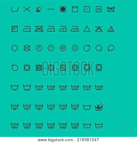 Wash Icons. set of signs. Vector illustration