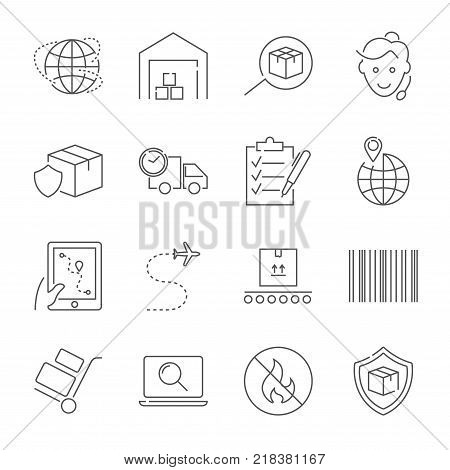 Parcel delivery service and logistics icon set. Fast delivery and quality service transportation. Shipping vector icons for logistic company. Editable Stroke. EPS 10