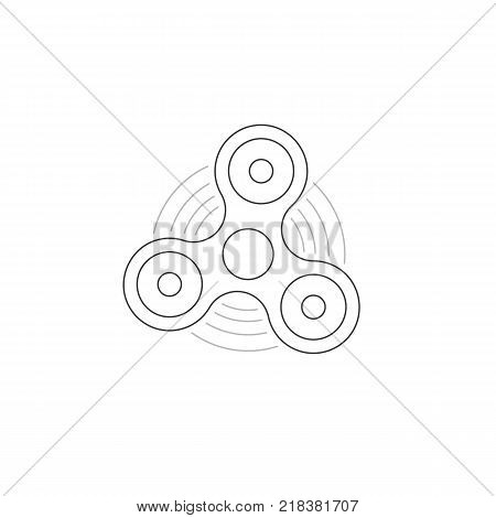 black thin line hand fidget spinner logo. concept of very popular toy gadget for kids and best thing for hyperactivity child. linear style trend logotype graphic art design isolated on white background