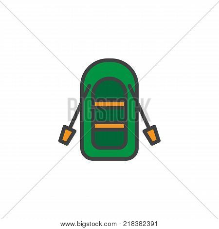 Inflatable boat with oars filled outline icon, line vector sign, linear colorful pictogram isolated on white. Symbol, logo illustration. Pixel perfect vector graphics