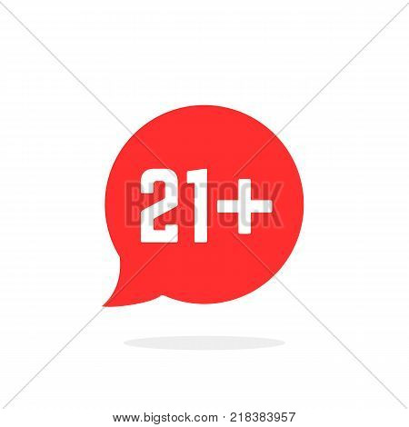red speech bubble like 21 plus isolated on white. abstract flat style trend modern logotype art graphic design. concept of information button for web site interface
