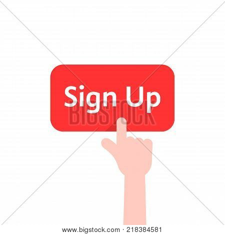 simple finger presses on sign up button isolated on white. concept of membership form ui on web site or webpage for member and on-line check in. flat style trend modern logo graphic design