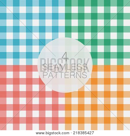 Set of Gingham seamless pattern. Texture for - plaid, tablecloths, clothes, shirts, dresses, paper, bedding, blankets, quilts and other textile products. Vector illustration.
