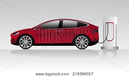 Modern electric car charging at the charger station. Vector illustration EPS 10