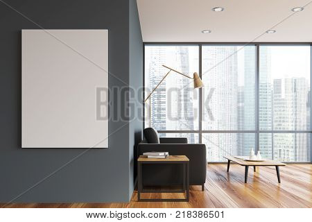 Gray Panoramic Living Room, Poster