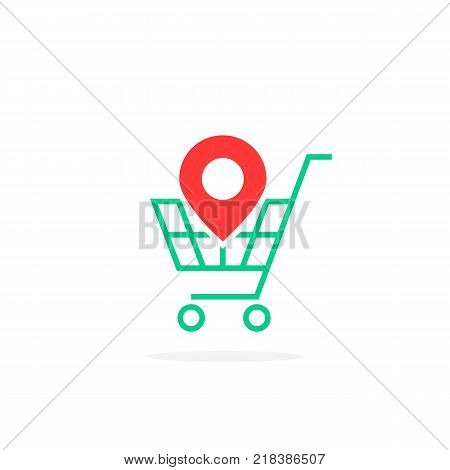 red geotag icon with green shopping cart. simple flat style trend modern logotype graphic design on white background. concept of find a hypermarket on the map in city and marketing on-line service