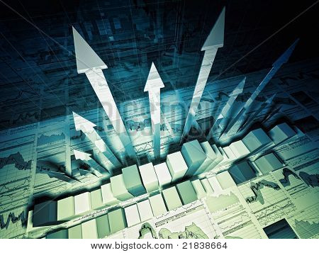 fine 3d image of growing arrows and business chart