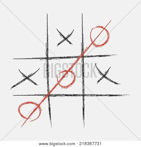 Tic Tac Toe. XO game. Drawn in chalk. Vector illustration.