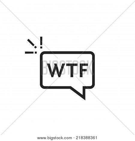 black outline wtf icon in speech bubble. simple flat style trend modern logotype graphic art design on white background. concept of exclaim with negative conversation or aggressive astonishment