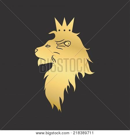 Gold Lion With A Crown Logo Vector Illustration