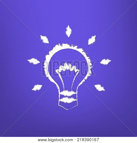 Abstract Draw Light Bulb isoated on blue-violet background. Vector illustration
