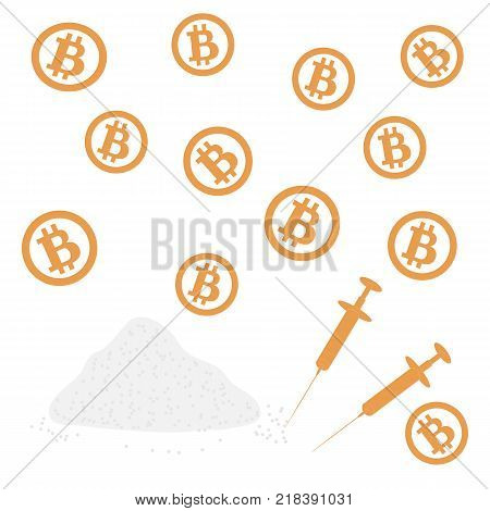 Picture about transactions in bitcoin: bitcoins and drugs on a white background