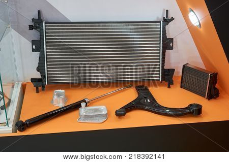 Automotive spare parts in the store: radiator pneamatic tailgate and lever