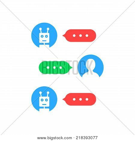 user interface like chatting with chat bot. concept of feedback or dialog with digital helper and on line support. flat style trend modern logotype graphic design isolated on white background