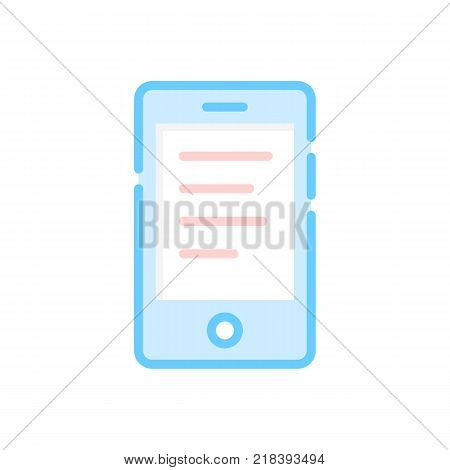 colored smartphone or ebook with text. concept of web learning or studying by mobilephone or chatting. flat simple trend modern logotype or cartoon graphic art design isolated on white background