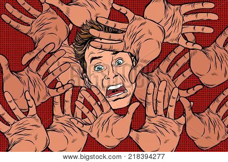 Horror fear background, hands and frightened face. Pop art retro vector illustration