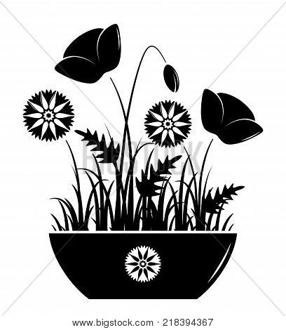 vector meadow flowers in bowl isolated on white background