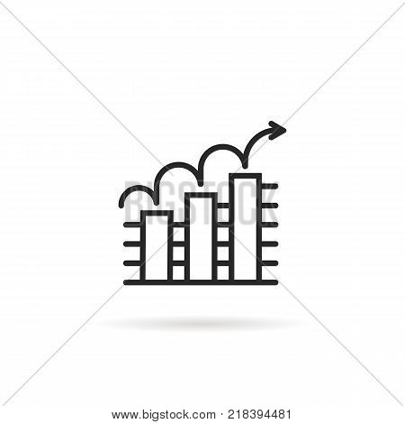 outline icon trend up business graph on white background. stroke flat style modern black logotype graphic art design. concept of stats sign of company economy and simple benefit pictogram