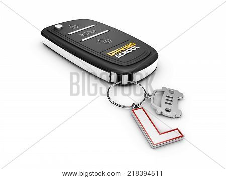 3d Illustration of car key with car and learner driver sign.