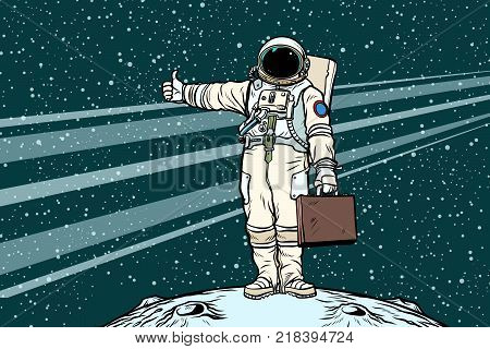 hitchhiker astronaut with travel suitcase. Pop art retro vector illustration