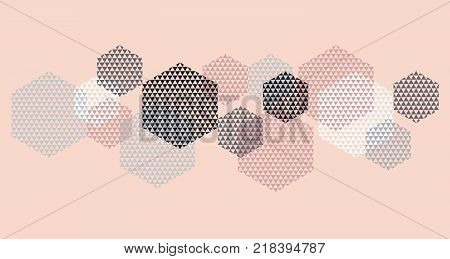 Geometry header in pastel color vector illustration. Concept triangle and hexagon pattern for surface design. Abstract pattern in black, pastel pink and gray on white background.